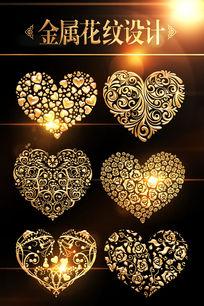 金属质感心形花纹图案设计
