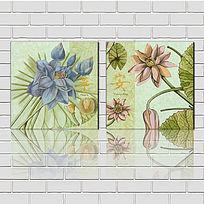 美式抽象手绘鲜花植物装饰画