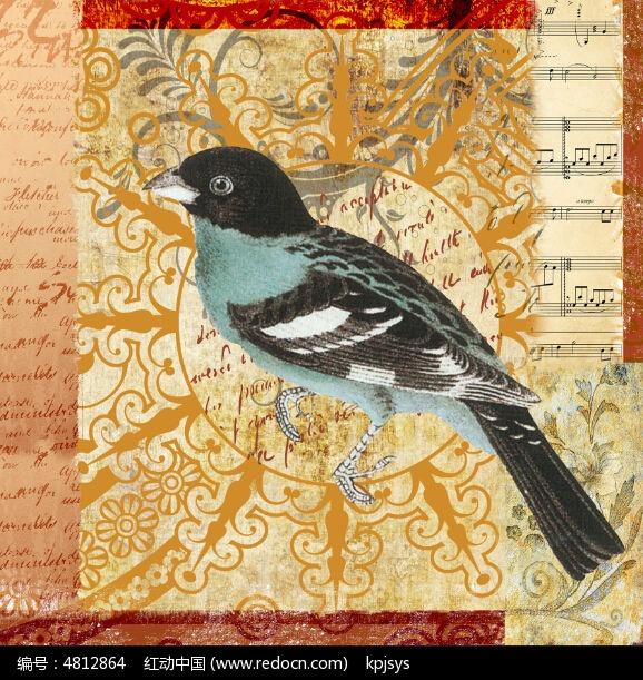 欧美复古做旧小鸟无框画设计图片