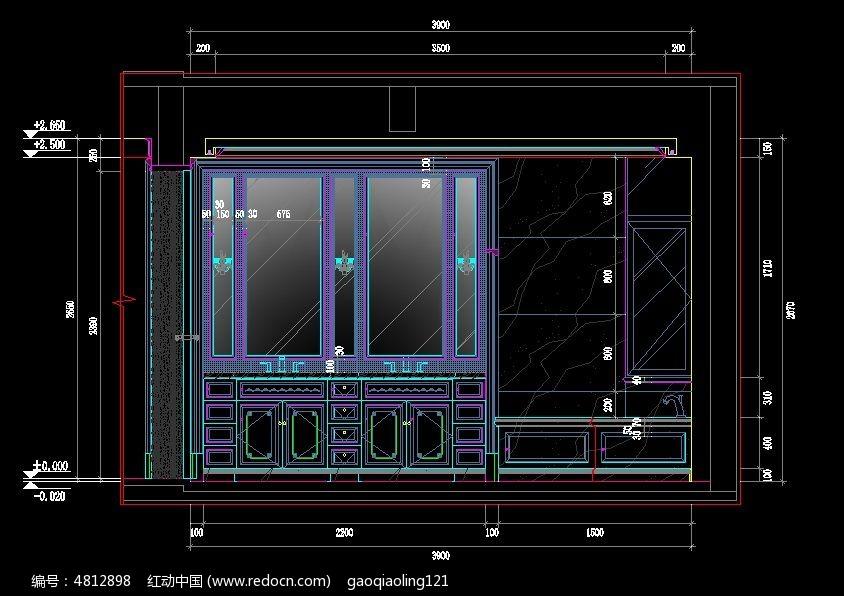 欧式博古架设计图纸CAD图纸楼程四层施工建筑工尺寸图片