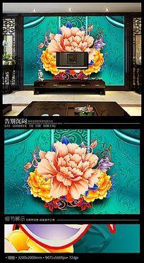 唯美牡丹彩雕浮雕电视背景墙
