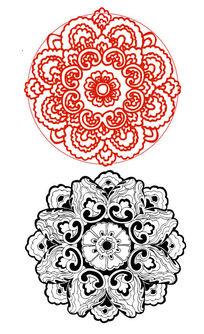 中国红传统牡丹团花纹样剪纸AI