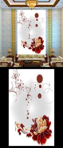 抽象牡丹花纹玄关装饰图