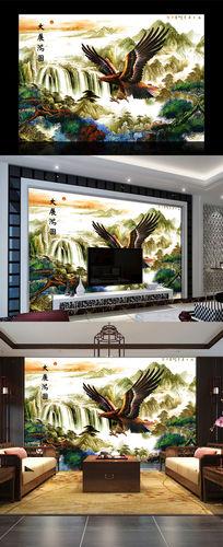 大鹏展翅中式山水电视背景墙