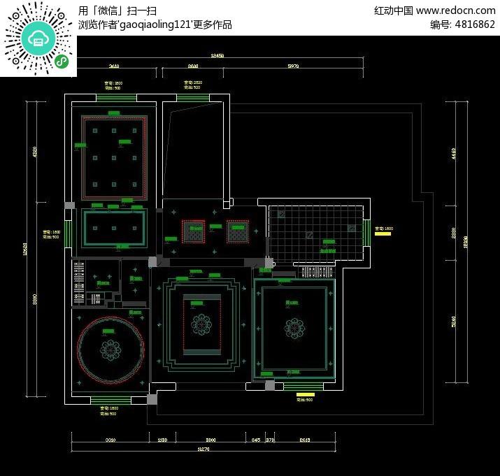 吊顶灯具布置CAD图纸素材下载 室内装修设计图片