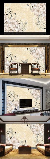 简约抽象花朵花纹电视背景墙