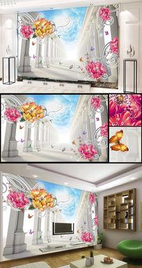 蓝天白云富贵立体欧式罗马柱电视背景墙