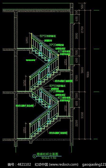 楼梯栏杆立面图