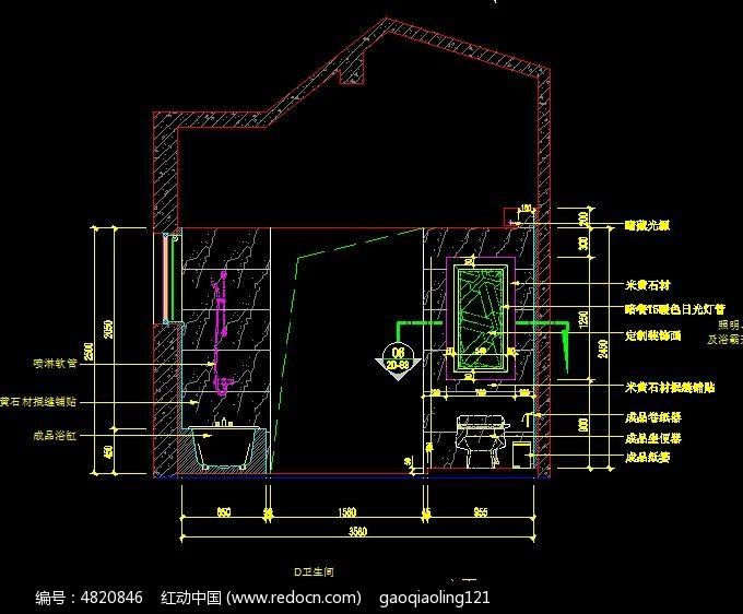 卫生间D立面v图纸图纸_CAD图纸图片素材图纸显示带上开关插座图片