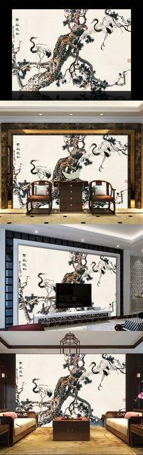 仙鹤松树水墨电视背景墙