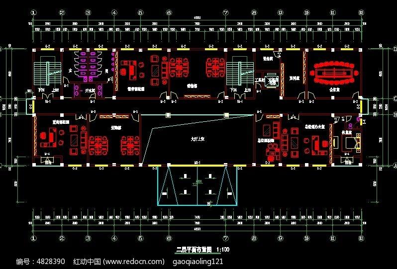办公楼二层办公室平面布置图