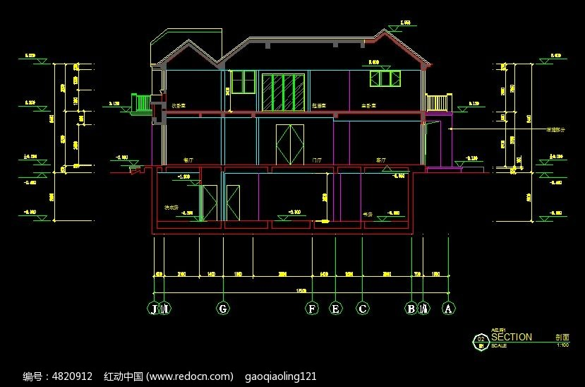 别墅建筑剖面图 别墅设计施工图纸 cad图纸 cad格式