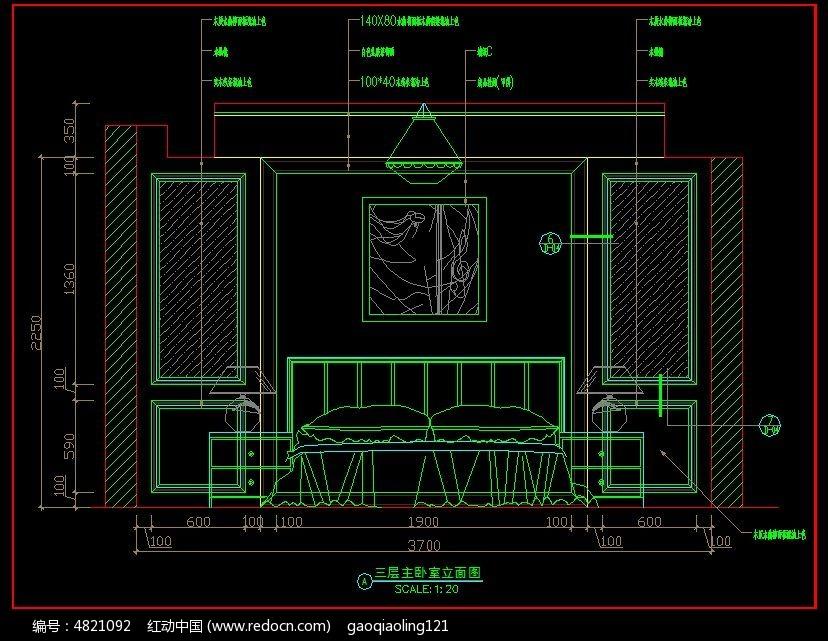 别墅三层主卧室立面图