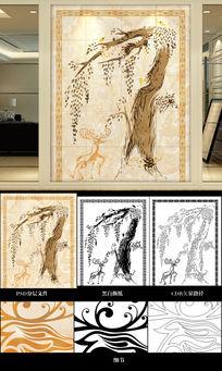 抽象树铃鹿背景墙雕刻路径图