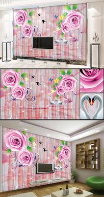 蝶恋花玉石3d立体玫瑰电视背景墙