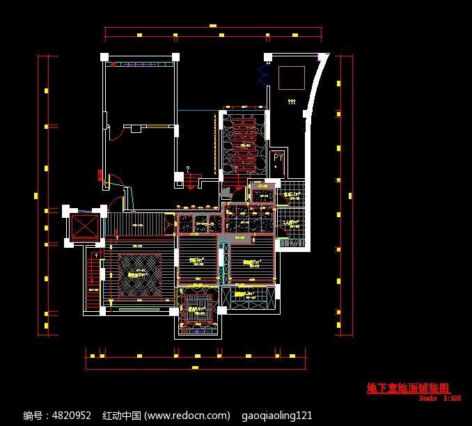 地下室地面铺装图 地下室施工图纸 cad图纸 cad格式