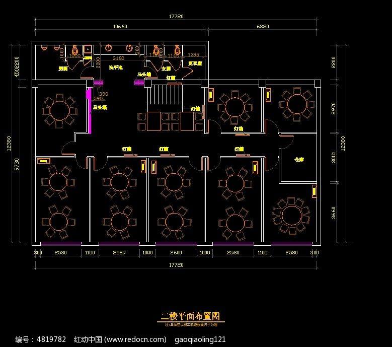 工装二楼平面布置图cad素材下载_室内装修设计图片