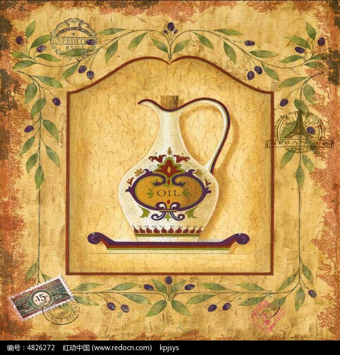 古典欧式酒瓶装饰画设计