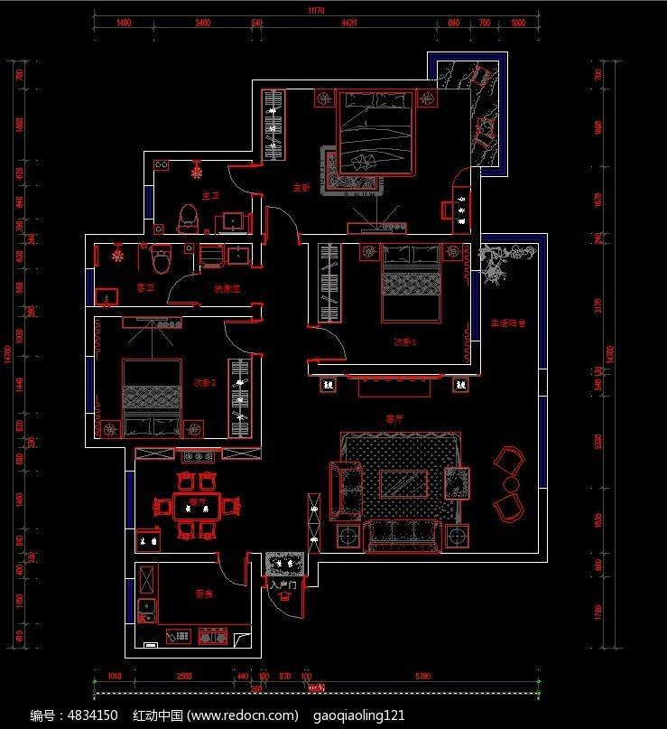 家装户型平面家具布置图纸cad素材下载_室内装修设计