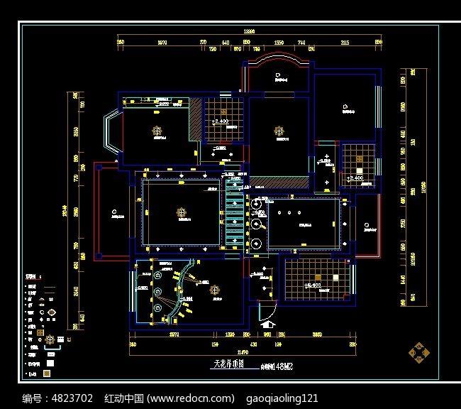 家装天花吊顶施工图纸CAD素材下载 编号4823702 红动网