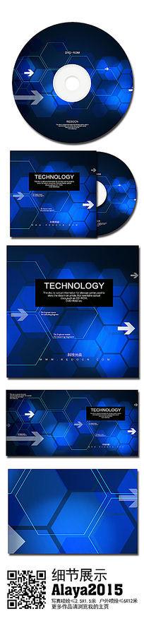 蓝色时尚科技光盘设计模板