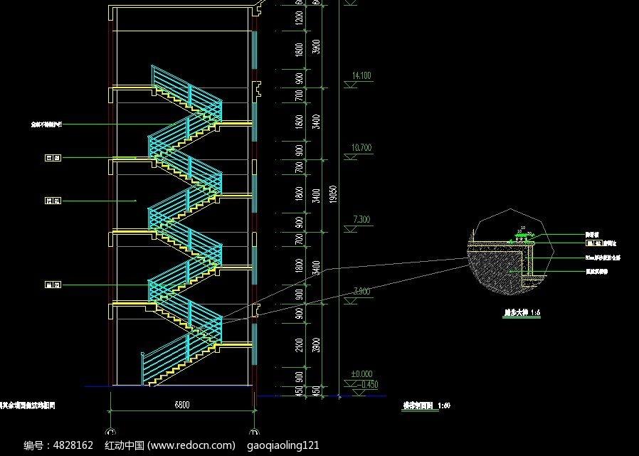 楼房楼梯剖面设计图纸cad素材下载_建筑套图设计图片