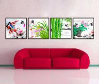 梅兰竹菊中国风中式无框画