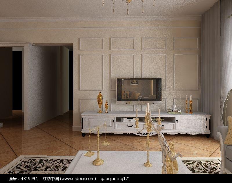 欧式背景墙造型模型素材