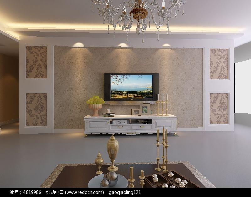 欧式电视墙设计效果图模型3dmax素材下载 室内装修设计图片 -欧式电高清图片