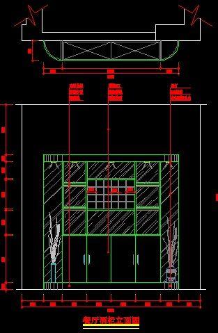 欧式酒柜立面设计图纸