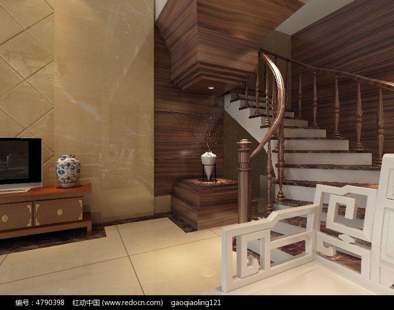 欧式楼梯装修设计效果图模型