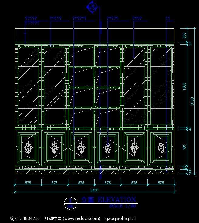 欧式书柜立面v书柜图纸_CAD图纸图片素材图纸跑三楼梯图片