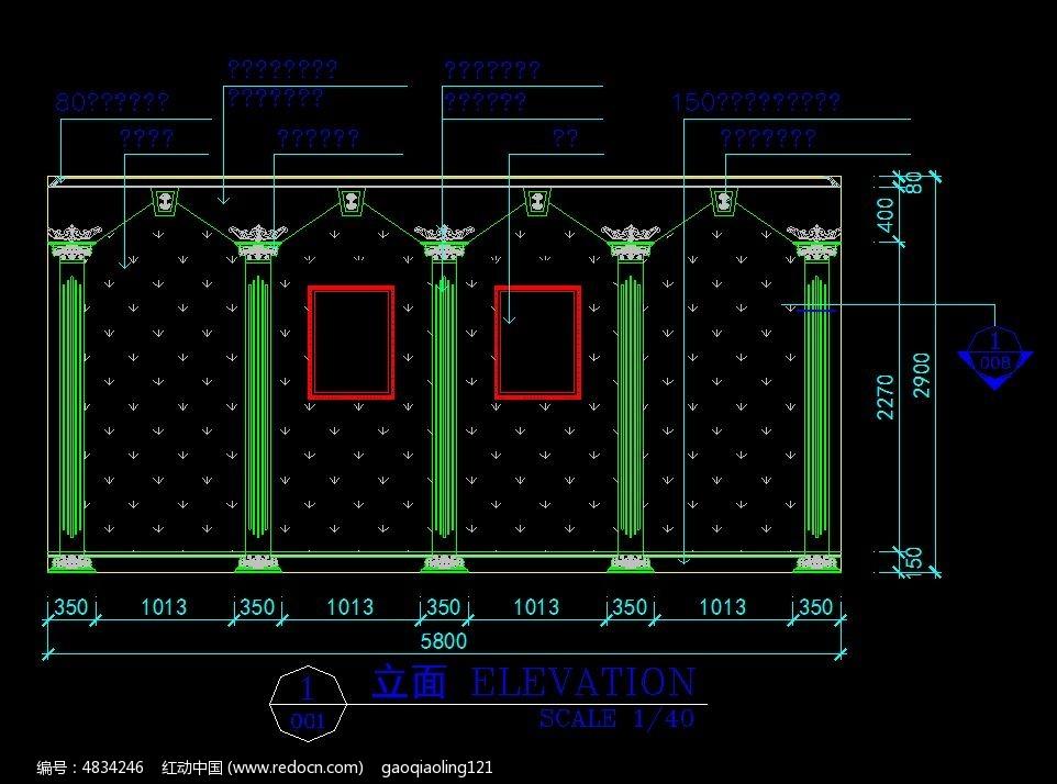 欧式装修墙面罗马柱设计图纸图片