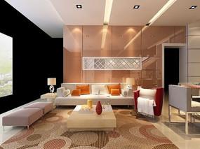 沙发背景造型设计模型