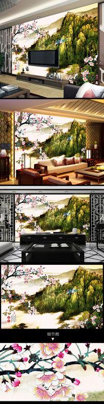山水风景桃花水墨中式电视背景墙