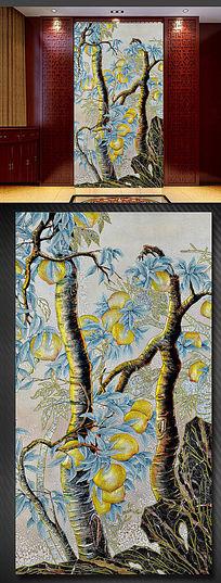 桃树钢化艺术玻璃玄关背景墙