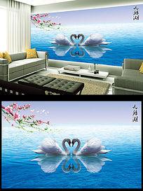 天鹅湖唯美电视背景墙