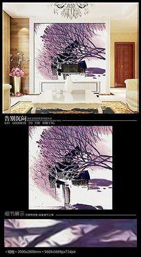 艺术树木房屋风景画作电视背景墙