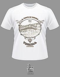 圆形简笔花纹威尼斯主题文化衫