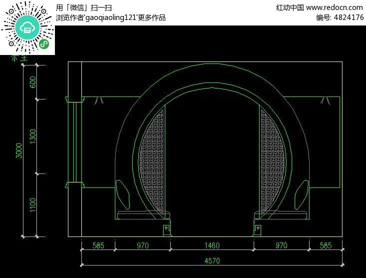中式电脑桌设计图纸展示图片
