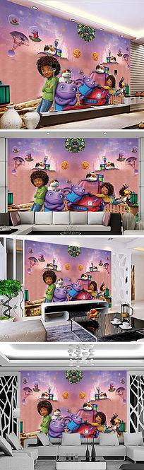 3D立体疯狂外星人电视背景墙装饰画