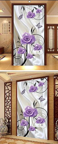 3D立体蝴蝶玫瑰玄关背景墙