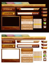 木纹质感网页导航和按钮设计