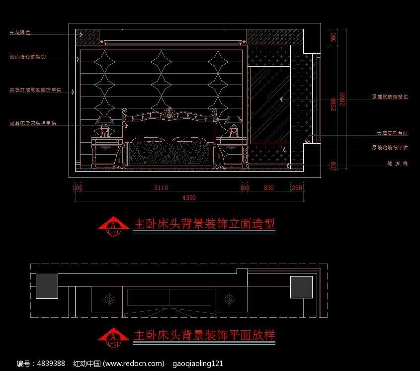 欧式风格主卧室床头背景设计图