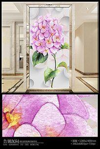 手绘绣球花3D玄关背景墙
