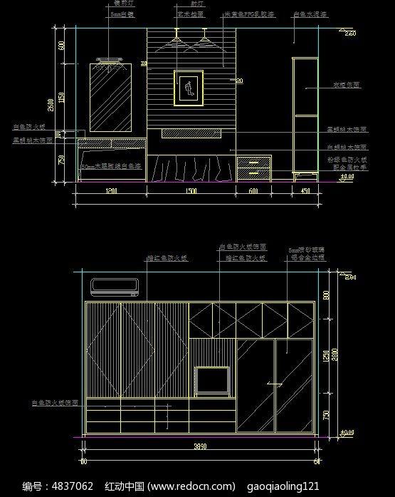 卧室墙面柜子设计图 卧室柜子立面图 柜子设计施工图纸