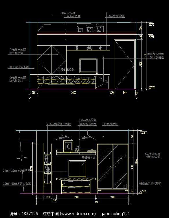 造型客厅背景墙设计图纸图片
