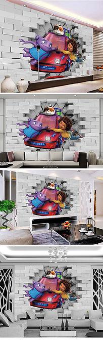 3D立体疯狂外星人电视背景墙