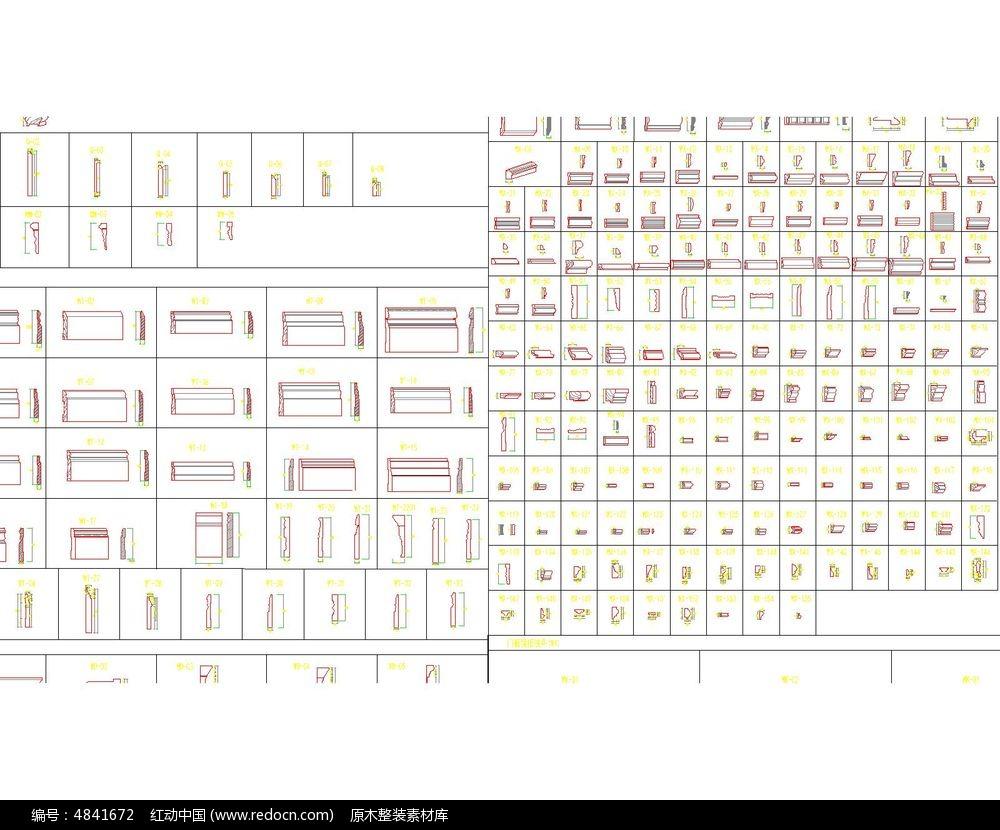800款原木装修木线条图库_CAD图纸图片素材