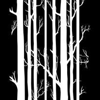 黑白枯树无框画设计
